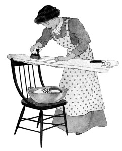 old fashioned ironing, vintage housework clipart, old fashioned laundry, woman ironing clothes graphics, black and white clip art free