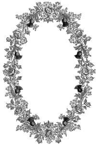 black and white clipart, ornamental floral illustration, ornate swirl design, vintage frame engraving, point embroidery pattern, vintage embroidery design