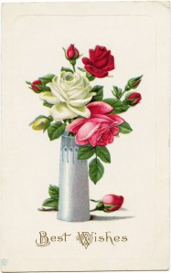 vintage postcard roses, printable rose card, roses in vase image, old postcard flowers, red pink rose clipart, vintage ephemera free