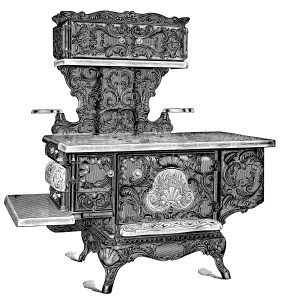 vintage stove clipart, black and white clip art, vintage kitchen printable, old catalogue page, aged paper ephemera, wood burning stove illustration