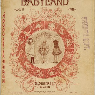 Babyland magazine cover, old book page, aged paper graphics, Victorian baby clipart, public domain children image
