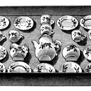 Child's China Tea Set ~ Free Vintage Clip Art