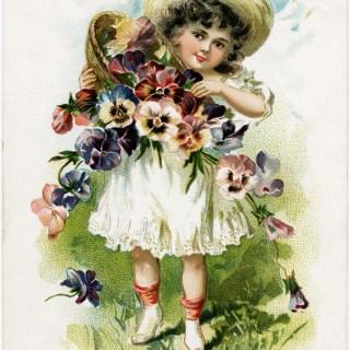 Victorian Flower Girl ~ Free Vintage Postcard Image