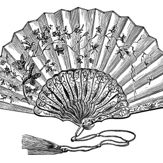 Victorian Ladies' Elegant Fan ~ Free Clip Art