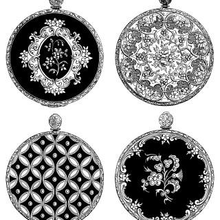 Victorian Watch Backs ~ Free Vintage Clip Art