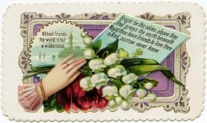Victorian calling card, vintage ephemera, free vintage card, old fashioned visiting card, printable card hand flower