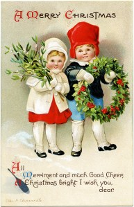 vintage Christmas postcard, Ellen Clapsaddle, Christmas girl boy illustration, Victorian Clapsaddle children, mistletoe holly berry wreath