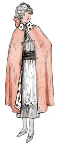 1914 fashion for girls, antique teen clothing sketch, vintage fashion illustration, girl wearing pink cape