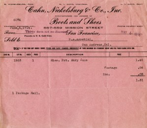 vintage invoice graphic, cahn nickelsburg co, pink invoice digital, old pink receipt antique shoe boot invoice, vintage paper ephemera