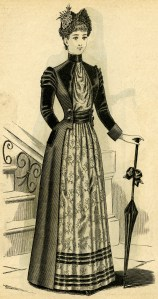Victorian lady, black and white clip art, Victorian fashion image, ladies toilette, vintage fashion illustration
