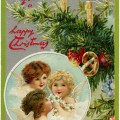 vintage Christmas postcard, angels clip art, decorated tree branch, Victorian Christmas illustration, old fashioned Christmas card