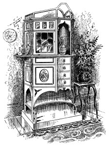 Victorian furniture illustration, black and white graphics, vintage furniture clipart, chippendale cabinet clip art, old fashioned cabinet