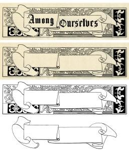 vintage Christmas frame, holly berries frame, black and white graphics, vintage frame clip art, scroll banner illustration