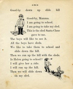 vintage Santa illustrations, black and white graphics, children in snow clip art, boy with sled clipart, antique school reader page