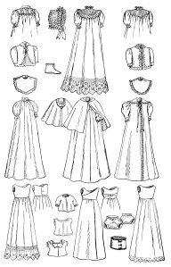 vintage baby clip art, black and white graphics, infants wardrobe illustration, antique magazine ad, baby clothes clipart