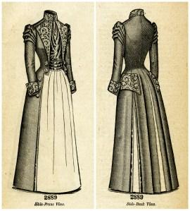 Edwardian fashion illustration, Victorian ladies fashion clipart, vintage coat image, black and white clip art, antique ladies coat polonaise