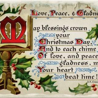 Love Peace Gladness ~ Free Vintage Christmas Image