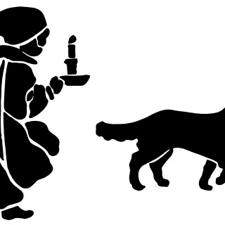 Victorian Boy and Dog ~ Free Vintage Clip Art