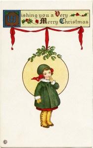 Stecher Christmas postcard, public domain Christmas image, Victorian girl clip art, printable Christmas illustration, old fashioned Christmas card