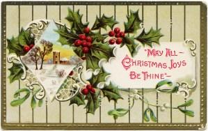 vintage Christmas postcard, holly berries mistletoe graphics, printable Christmas illustration, old fashioned Christmas card