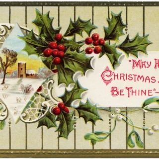 Holly Berries Christmas Postcard ~ Free Image