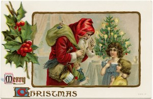 Victorian Christmas postcard, vintage santa clip art, old fashioned Christmas card, santa with children illustration, antique Christmas postcard