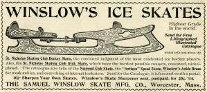 free black and white clip art, vintage skating clipart, old magazine ad, winslow ice skate advertisement, Samuel Winslow Skate Mfg Co