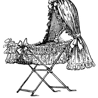 Victorian Baby Bassinet ~ Free Clip Art Illustration