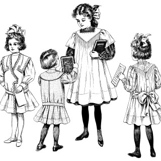 1908 Children's Fashion ~ Free Vintage Clip Art