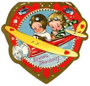 biplane valentine, vintage valentine clip art, airplane valentine card, retro valentine card, printable valentines, old fashioned kids valentine