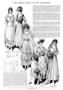 vintage wedding clip art, Edwardian bride illustration, antique bridesmaid dress, vintage flowergirl clipart, bridal fashion graphics 1915