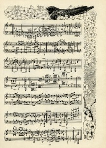 The Brownies Gavotte, vintage sheet music graphics, S G Pratt, suit of brownie dances, owl bird flowers clip art