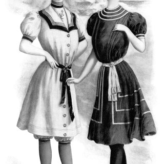 Victorian Ladies' Swimsuits ~ Free Vintage Clip Art