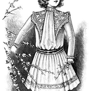 Victorian Girls Fashion ~ Free Vintage Clip Art
