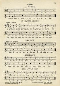 vintage sheet music, songs for April, kindergarten music, simple songs for children, old book page