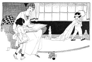 black and white graphics, mother and children clip art, mom and kids at play, woman reading to child, kids toys playtime illustration