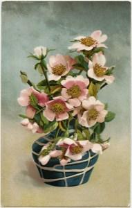Victorian postcard graphics, vintage floral postcard, pink flower clip art, flowers in vase clipart, vintage flower illustration