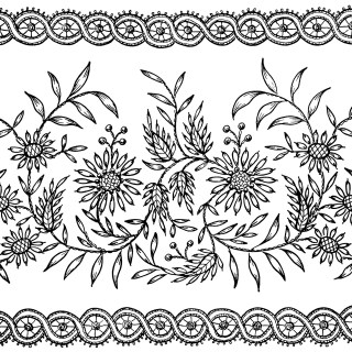 Flowers and Leaves Embroidery Pattern