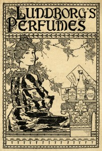 Lundborg perfume, vintage perfume ad, antique magazine advertisement, old fashioned perfume, Victorian lady clip art