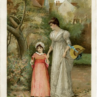 mother daughter image, Victorian card, woman and child illustration, morning walk, fall printable