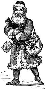 santa claus clip art, vintage magazine ad, antique butterick advert, black and white graphics, vintage Christmas clip art