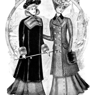 Victorian fashion illustration, Victorian lady, black and white clip art, antique ladies clothing, vintage winter fashion, ladies street toilette