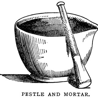 Vintage Mortar and Pestle Clip Art