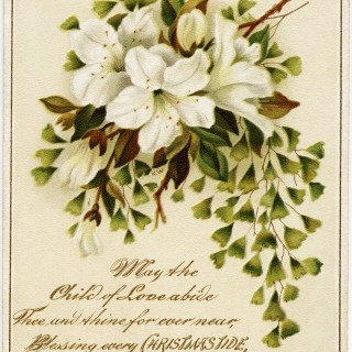 Bouquet of Lilies Vintage Christmas Card
