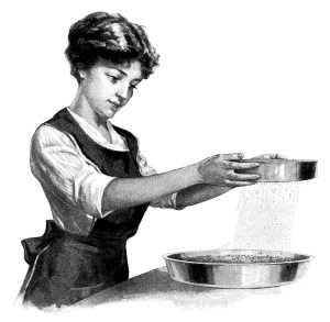 woman cooking clip art, Edwardian girl cooking, vintage kitchen clipart, black and white graphics, vintage baking image