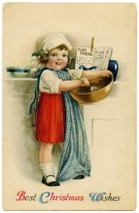 vintage Christmas postcard, Christmas girl baking, Victorian girl cooking, Ellen Clapsaddle