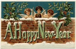 cherubs clip art, vintage new year postcard, vintage new year ephemera, new year card, happy new year graphics