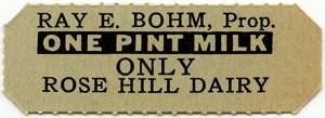 milk ticket, rose hill dairy, ray bohm, milk coupon, vintage kitchen ephemera