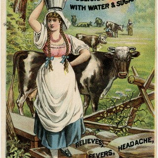 Lactart milk acid, Victorian trade card, vintage advertising card, vintage ephemera, milkmaid illustration