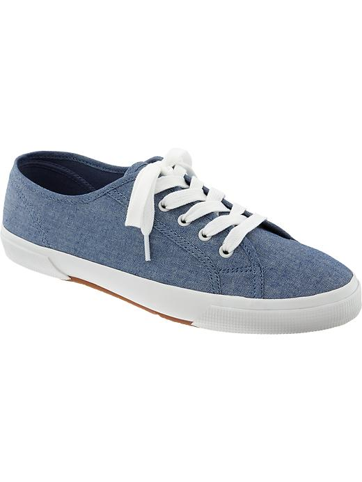 Old Navy Womens Lace Up Canvas Sneakers - Blue chambray
